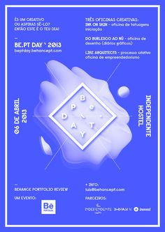 Be.PT DAY Poster by i M P A R — DESIGNBUREAUhttp://beptday.behancept.com/ — http://behancept.com/blog/2431/be pt day/ #center #bept #behance #moldure #day #blue