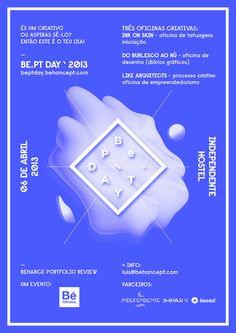 Be.PT DAY Poster by i M P A R — DESIGNBUREAUhttp://beptday.behancept.com/ — http://behancept.com/blog/2431/be pt day/ #center #bept #behance #moldure #day #blue