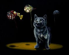 Kitty with fishes in animal surreal art #surrealism #realism #painting #paintings #art #animal