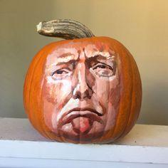 trump, politics, election, debate, pumpkin, face, president, draw, sad