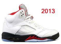 """Jordan 5 (V) Retro """"Fire Red"""" White/Black Nike Mens Shoes #shoes"""
