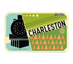 Charleston - The Everywhere Project #train #railroad #design #label #illustration #tag #vintage #luggage #ticket