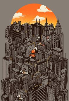 The city that never sleeps takes a break :: Art by Madkobra #city #metropolis #coffee #illustration #architecture #york #buildings #new