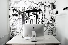 Appricot Office Walls #workspace #white #office #black #wall #and