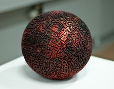 LE CONTAINER #red #ball #black #printing #sphere #type