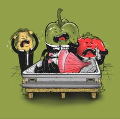 Vegetable Tragedy by Madkobra #carrot #peppers #funeral #onion #vegetables #illustration #tragedy #death