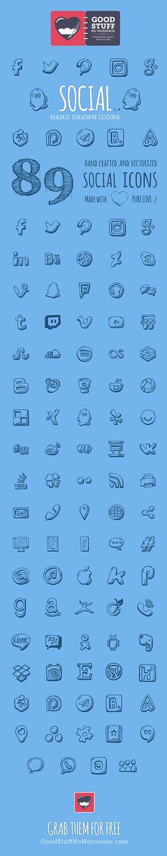 89 Hand Drawn #Free #Social #Icons #web #design
