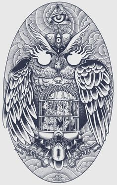 bandorg on Behance #blacklinez #owl
