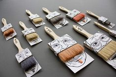 moustache paintbrush packaging by simon laliberté