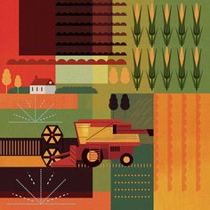 Mike Lemanski | Allan Peters #red #muted #yellow #graphic #color #rows #farming #illustration #brown #corn #harvester #green