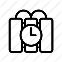 See more icon inspiration related to tnt, terrorism, detonation, miscellaneous, dynamite, explosive, crime, weapons, weapon, bomb, timer and clock on Flaticon.