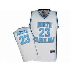 North Carolina Nike Jordan White Jerseys #23 Blue Numbers