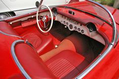 red car interior, classic cars, corvette, vintage car photography, car, retro, dashboard