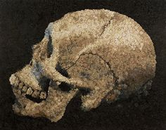 Mosaics Created from Thousands of Hand Cast Resin Flowers and Candy #skull #flowers
