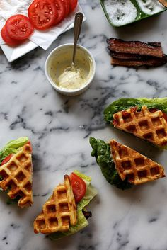 Somewhat out of the box… Cheddar Buttermilk Waffle BLTs #sandwiches #waffles #food
