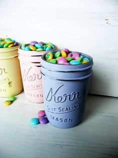 Easter Decorations / Spring / Candy Dish, Painted Mason Jar Centerpiece #paint #easter #mason #pastel