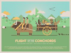 Flight of the Conchords tour poster // DKNG #conchords #flight #of #texture #the #zeland #illustration #poster #music #dkng #mountains #country #tour #new