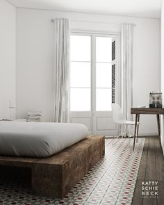 Wood and White Apartment in Barcelona by Katty Schiebeck. #wood #apartment #kattyschiebeck #bedroom #minimalist