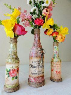 Homemade Wine Bottle Crafts #wine bottle #diy #craft