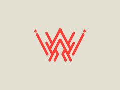 W #lettering #red #logodesign #design #letter #rounded #logo