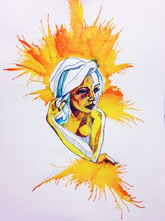 Explosions - Katie Melrose // Ink #ink #girl #colorful #portrait #pen