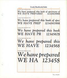 Goudy Handtooled Italic type specimen #type #specimen