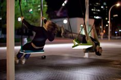 musical swings 21 balancoires by daily tous les jours #public #installation #wipe #sound #art #music #light