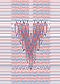 Blue Red Letter V Sketch www.hansje.net #pattern
