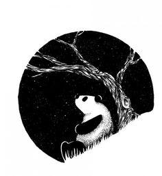 Panda #white #tree #sky #panda #black #stars #and