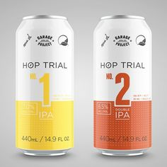 Hop Trial Cans #beer #white #yellow #orange #clean #simple #numbers #ipa