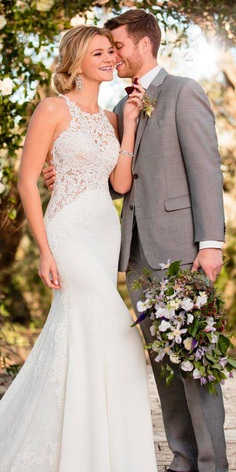 revealing wedding dresses halter neckline lace mermaid sleeveless essense of australia