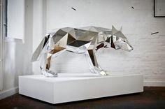 Mirrored Geometric Animals by Arran Gregory #taxidermy #sculpture #mirror #fox