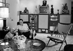 Entertainer Frank Sinatra relaxing w. pet dog Ringo at home.