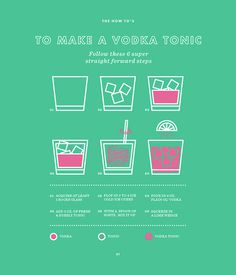 The How To's -Number 01 #design #infographic #icon #vodka #drinking #how to