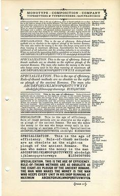 A type specimen of miscellaneous Monotype fonts. #type #specimen #monotype