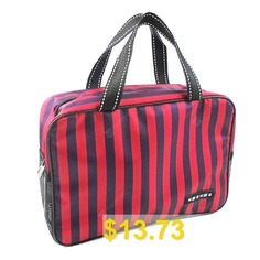 Waterproof #Large #Capacity #Striped #Wash #Bag #Male #Bath #Bag #- #RED