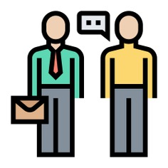 See more icon inspiration related to Salesman, client, human, businessman, negotiate, sales agent, costumer, business and finance, negotiation, insurance, sales, business, communication and connection on Flaticon.