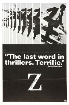 Extra Large Movie Poster Image for Z #movie #60s #1969 #70s #cinema #poster #bw