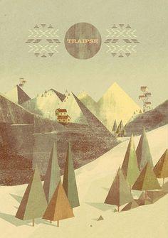 Matthew Lyons #mountain #tree #geometrical