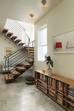 25th St Residence | Source | MVMT | Facebook #interior #concrete #minimal #stairs #media