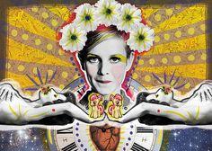 Suspendida en tu puntos | Peperina Magenta #creative #arte #amor #woman #color #pinup #digital #ilustraciã³n #vintage #ilustration #art #collage #colour #love #work