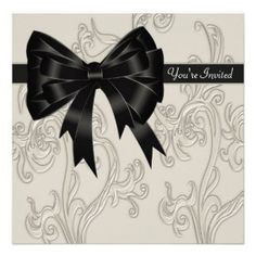 Black White Cream Swirl Party Invitation Template #invitation #party