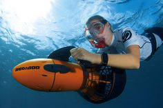 Want the thrill of riding on an underwater scooter? Explore reefs and shipwrecks with this Seadoo. #outdoors #adventure #design #product #industrial
