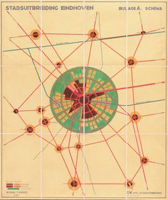 J.M. de Casseres, Eindhoven city expansion map, 1930 #old #school #graphic #vintage #poster