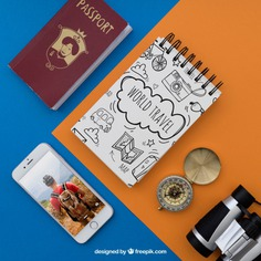 Travel items Free Psd. See more inspiration related to Mockup, Travel, Summer, Paper, Smartphone, Mock up, Drawing, Compass, Adventure, Decorative, Tourism, Vacation, Trip, Holidays, Passport, Notepad, Journey, Up, Binoculars, Traveling, Items, Composition, Mock, Summertime and Touristic on Freepik.