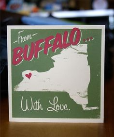 From Buffalo With Love Silkscreen Greeting by HeroDesignStudio #card #print #screen #greeting #buffalo