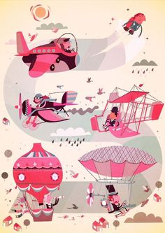 PINK #jetpack #steve #baloon #airplane #pink #flying #scott