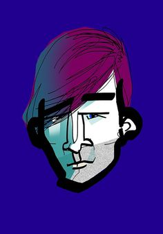 Carl from blue #portrait #drawing #blue #man #face #blue eyes #light #purple #character