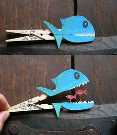 Kids would surely love these clever fish crafts made with clothespin. #diy #fish #sea