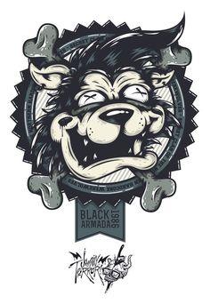 Black Armada's Hardcore Werewolf on Behance #illustration #apparel #character design #details